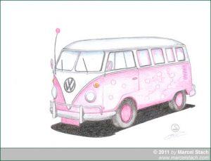 Farbstiftzeichnung: VW Bulli