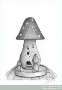 Bleistiftzeichnung: Pilz