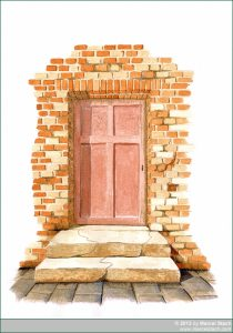 Aquarell: Alte Tür