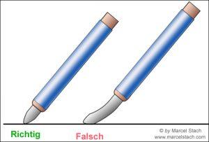 Radierstift richtige Haltung