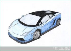 Lamborghini blau ausgemalt