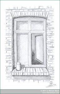 Skizze: Altes Fenster