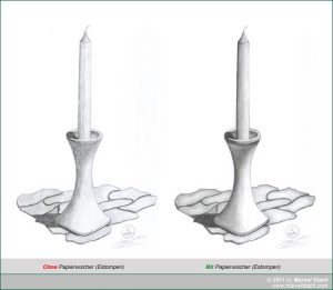 Vergleichsbild mit und ohne Papierwischer