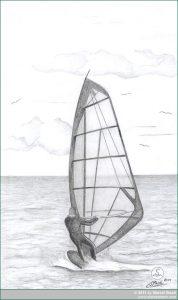 Bleistiftzeichnung: Windsurfer