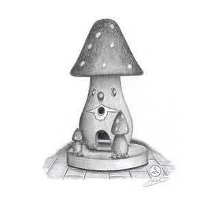 Ein Pilz als Räucherhäuschen