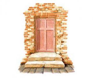 Aquarell einer alten Tür