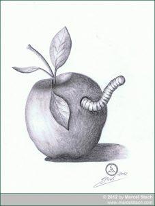 Zeichnung Apfel mit Wurm