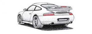 Tuschezeichnung Porsche 911 GT3